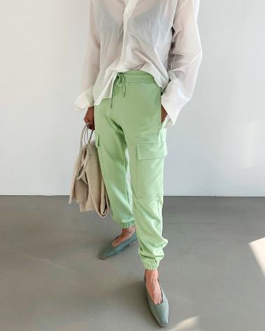 Color cargo jogger pants