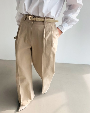 Cotton high waist pants
