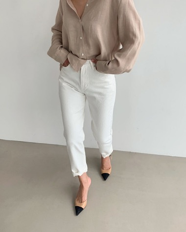 Spring ivory denim pants