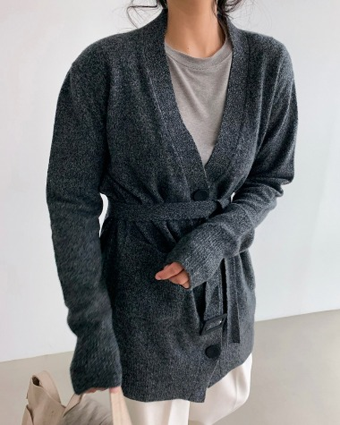 Cashmere belt cardigan