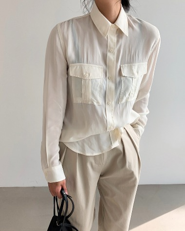 Pocket see-through blouse