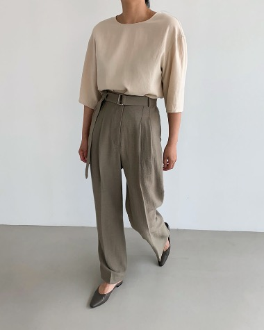Bella belt pintuck pants