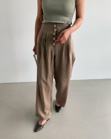 Button pintuck pants